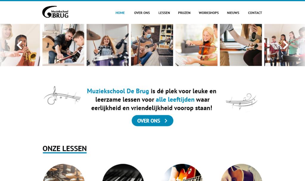 Een screenshot van de home-pagina van de website van Muziekschool De Brug